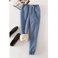 Autumn Winter Women Long Trousers Warm Thick Velvet Harem Pants Female Elastic Waist Sweatpants Fleece Cotton Casual Pant AB658 2
