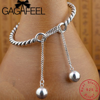GAGAFEEL 100% Pure 925 Sterling Silver Bracelets Exquisite Tassel Bangles Adjustable Jewelry for Women Female Drop ship