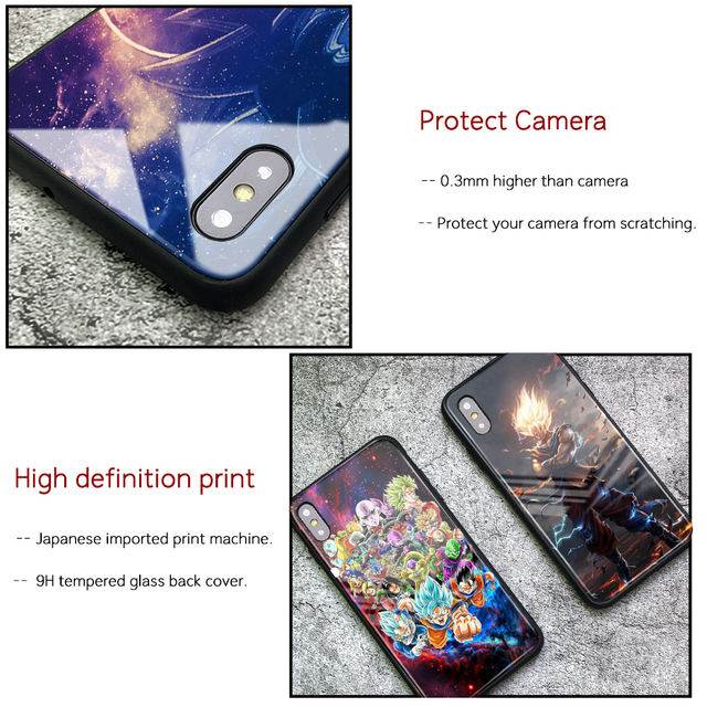 Dragon Ball Tempered Glass Case Cover for iPhone Models