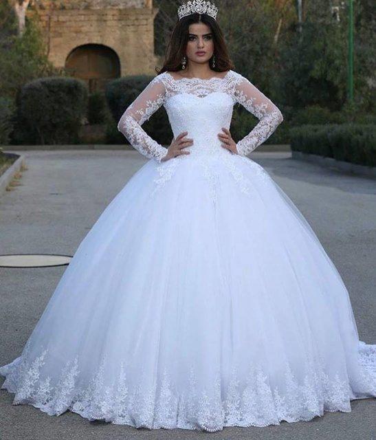 Vestido De Novia Bola Mewah Gaun Lengan Panjang Plus Ukuran Gaun