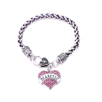Diabetic Awareness Charm Bracelet Medical Alert ID Bangle