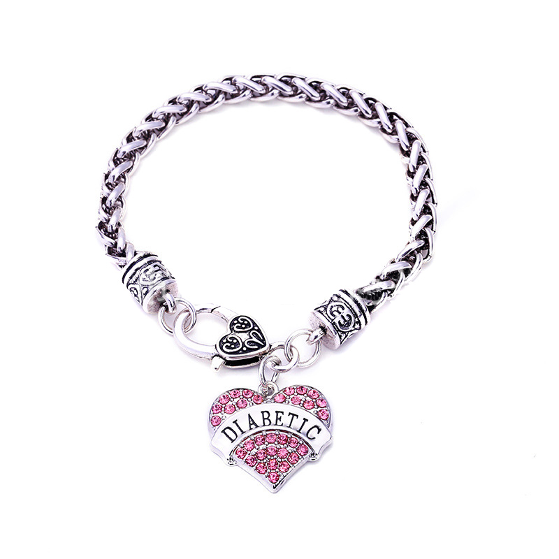 Pulseras DIABÉTICAS DIY Crystal Heart Charm Bracelet Awareness Medical Alert Bracelet Gift