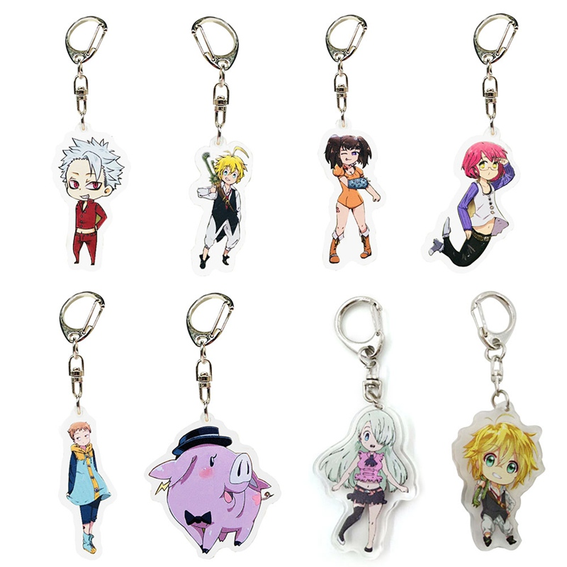 Set of 3 Seven Deadly Sins Anime Acrylic Keychain Meliodas Elizabeth Gilthunder