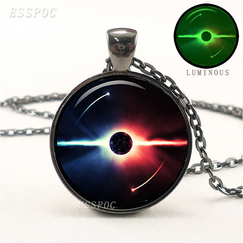 Luminous Yin Yang Symbol Pendant Black Glass Cabochon Glow In The Dark Necklace Yoga Jewelry for Men Women Birthday Gifts