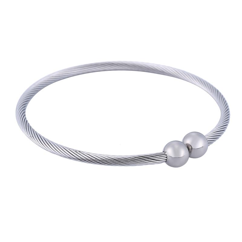 LASPERAL 1PC Stainless Steel Open Bangle Fit DIY Jewelry Simple Screw Pattren Chain Bangles&Bracelets For Women Men Jewelry