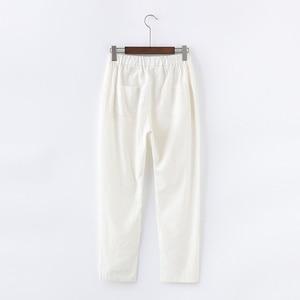 Image 3 - キャンディーの色夏パンツ女性のレースアップパンタロン綿リネンスウェットパンツカジュアルハーレムパンツ女性ズボン C5212