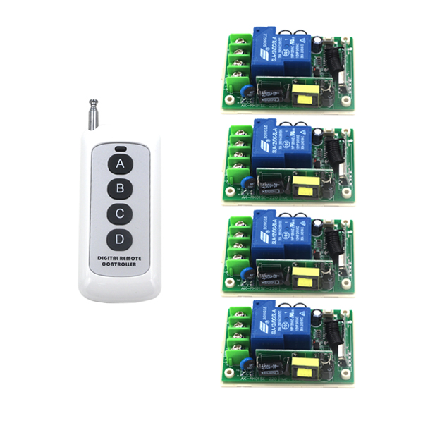 AC 85V-250V 30A relay 4CH Controller 1CH Wireless RF Remote Control Switch Radio Switch 1 Transmitter and 4 Receiver SKU: 5280 ac 220v 30a 1ch rf wireless remote control switch set 1 receiver 4 transmitter on off fixed code for light lamp sku 5332