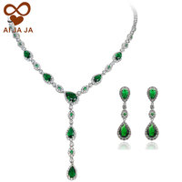 CZ Diamonds Paved Waterdrop Emerald Green Wedding Jewelry Sets 18K Plated Necklace Earrings Engagement Jewelry Sets