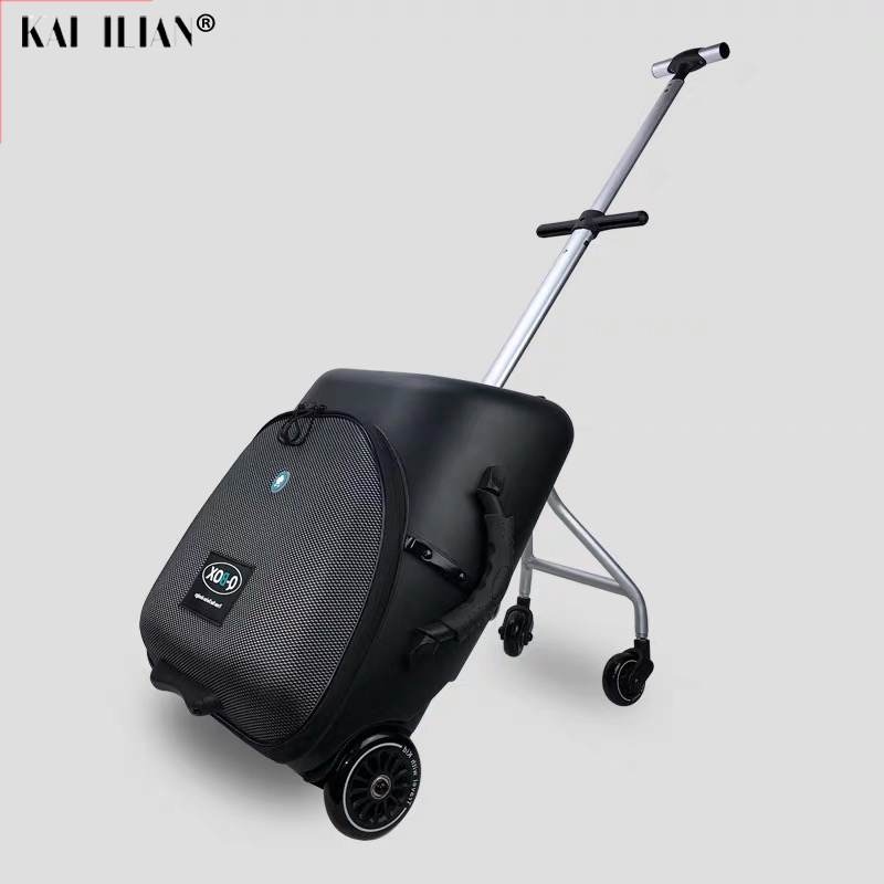 Lazy Rolling Luggage Baby Car Cabin Travel Suitcase Trolley Case On Wheels For Kids Sit On Luggage Carry-ons Labor-saving Box