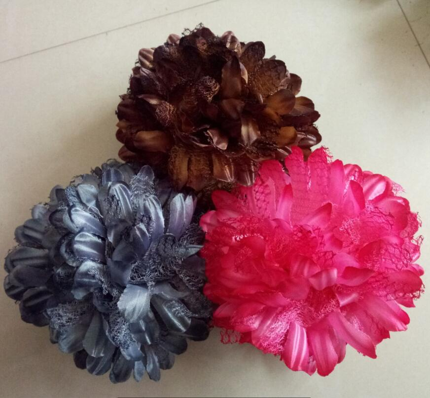 hijab flower clip khaleeji clip silk lace shabasa flower khaleeji volumizer 15cm hair flower 15pcs/lot