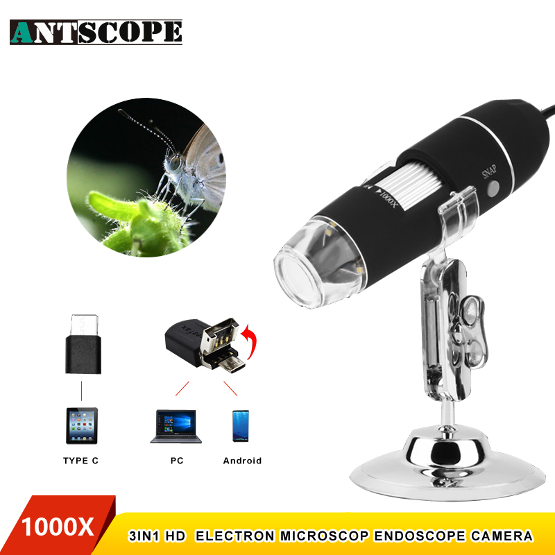 Antscope 1000X 8 LEDs USB Electronic Digital Microscope USB Android Endoscope Camera Microscopio Type C Magnifier Borescope usb digital microscope 1000x 8 led 2mp endoscope magnifier camera with hd cmos sensor lift stand ruler microscopio usb digital
