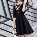 Coréia do OL vestido preto marinheiro faixa tassel mangas meia senhora primavera vestido preto primavera 2017 menina da faculdade menina de escritório todos os jogo