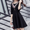 Korea OL black dress sailor strip tassel half sleeves lady spring black dress 2017 spring college girl office girl all match