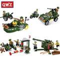 QWZ Modelo Building Blocks Set Serie Anti-Aircraft Gun Jeep Militar Batalla Reunidos Educativos Ladrillos de Juguete Para Niños Regalos