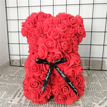 25/38cm Artificial Flowers Rose Bear Multicolor Foam Rose Teddy Bear Girlfriend Valentines Day Gift Party Decoration