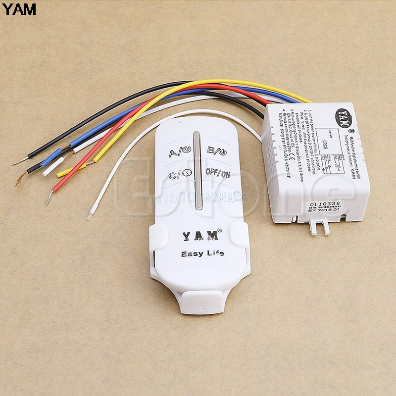 1SET 220V Wireless ON/OFF 3 Ways Lamp Remote Control Switch Receiver Transmitter 220v 1 2 3 4 ways wireless on off lamp remote control switch receiver transmitter w310