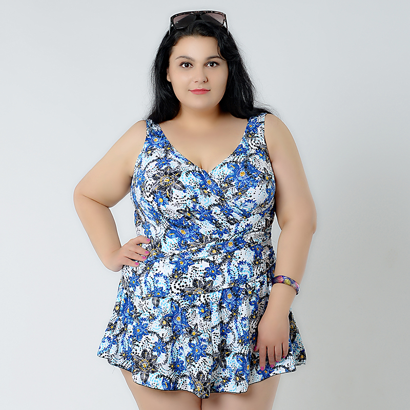 2017 Floral plus size swimsuit skirt push up for female hot one piece swimwear women beach summer suit big size bathing suit plus size one piece swimsuit women swimwear push up padded skirt dress bathing suit large size swimsuit summer beach suit