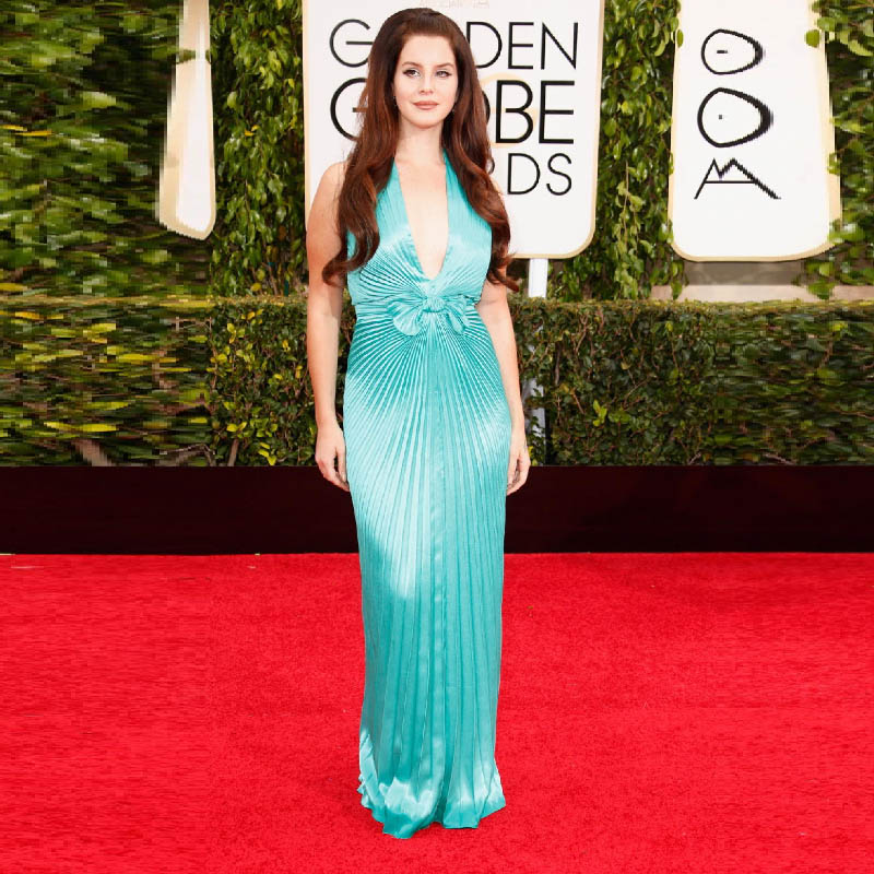 Golden Globe Lana Del Rey Celebrity Dress Plus Size Evening Pleats V Neck Robe De Soiree Green Women Lady Gown In Inspired Dresses