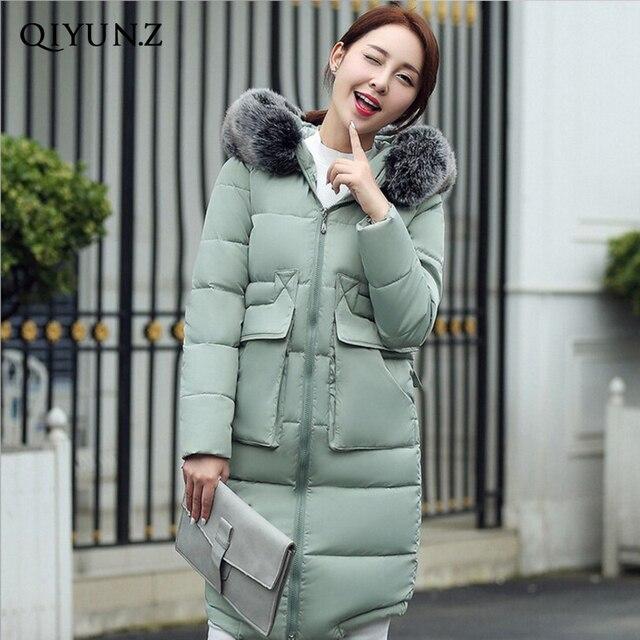 2017 Novo Casaco de Inverno Mulheres Jaqueta Gola de Pele Do Falso Com Capuz Casaco Longo Para Baixo das mulheres Jaqueta de Algodão Parka Casaco Plus Size 3XL