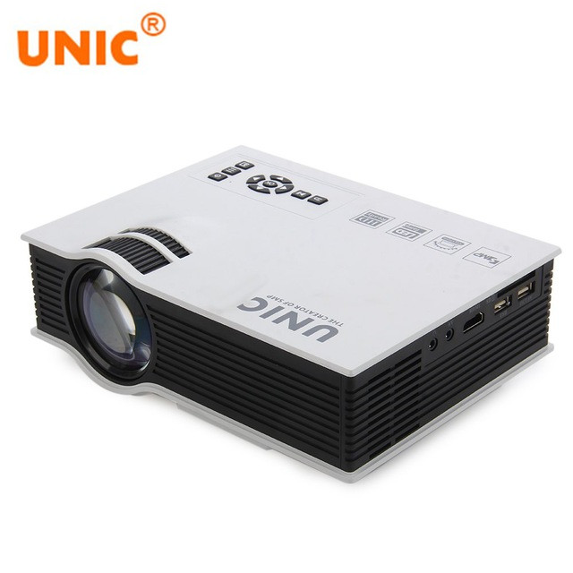 Original UNIC UC40+ Projector Mini Pico LED Home Cinema Projector USB SD AV HDMI Support Full HD 3D Video Multimedia Projector mini led projector bl 18 proyector portable pico projektor 500lumen full hd projectors av vga sd usb hdmi video beamer projetor