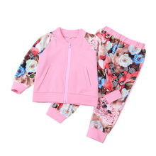 2018 Autumn Toddler Girl Clothes Pink Jacket+flower Print Trousers 2 Piece Set Girl Tracksuit Children Sport Suit For Girl недорого