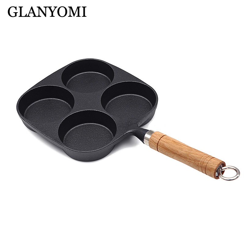 4 Grids Thickened Cast Iron Fried Egg Omelette Pan Non-stick No Oil-smoke Breakfast Pan For Gas & Induction Cooker Kitchen Tools