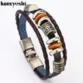Wholesale 12pcs/lot Genuine Leather Charm Bracelets Men For Women Vintage style Beaded Braided Bracelets femme Bangles bracciali