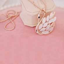 Women Charming Gold Color Rhinestone Opal Swan Pendants Long Necklace Sweater Chain Fashion Jewelry bijoux femme colar feminino(China)