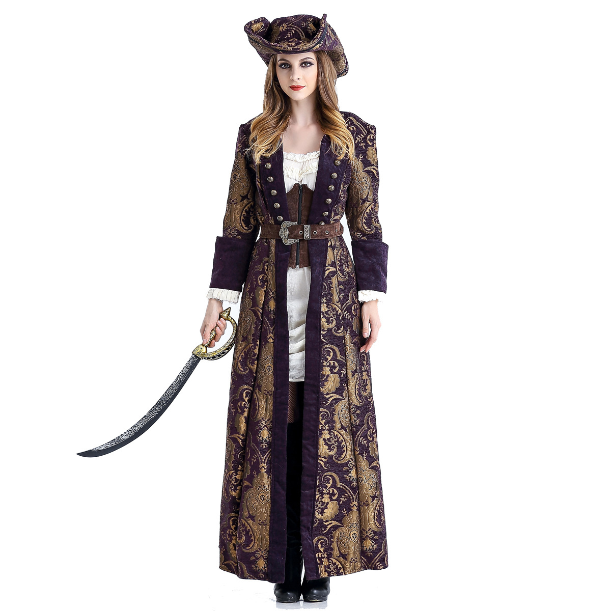 Captain Pirates of the Caribbean Costumes Jack Sparrow Fancy Dress Halloween Deluxe Carnival Pirates Of The Caribbean Clothes