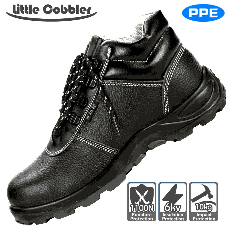 Little Cobbler Work Protective Shoes Imported Cowhide Rubber Sole Steel Toe Safety Shoes Anti-skidding Embossing ce certification tigergrip rubber anti slip work shoes s size women protective safety shoe covers lady s kitchen shoes