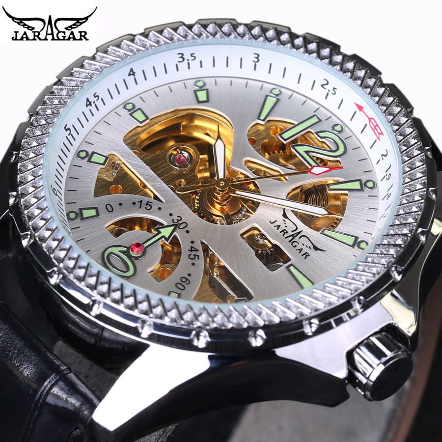 2018 Hot Sale Luxury Luminous Automatic Mechanical Skeleton Dial Black Leather Band Wrist Watch Men Best Gift JARAGAR ultra luxury 2 3 5 modes german motor watch winder white color wooden black pu leater inside automatic watch winder