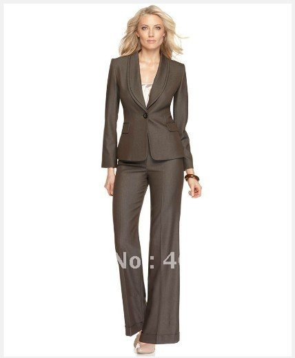 Brown Women's Suit Long Sleeve Single Button Shawl Collar