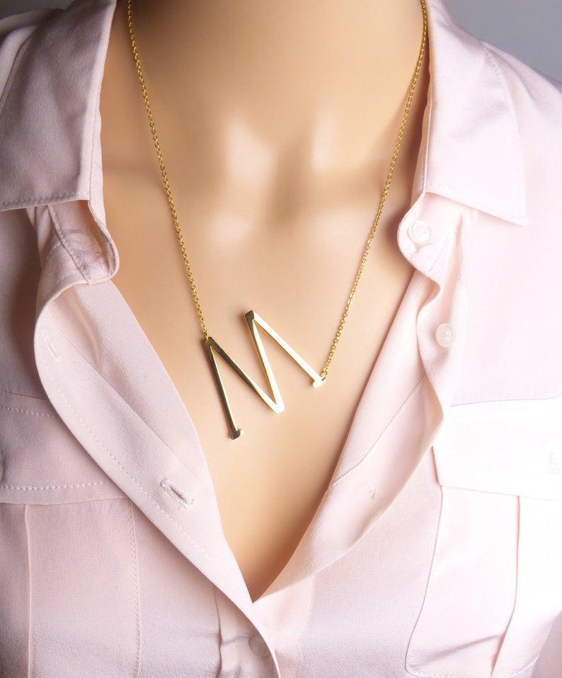 Ожерелье из нержавеющей стали A-Z ожерелья с буквой Big Letter Initial Necklace LayeringNecklace