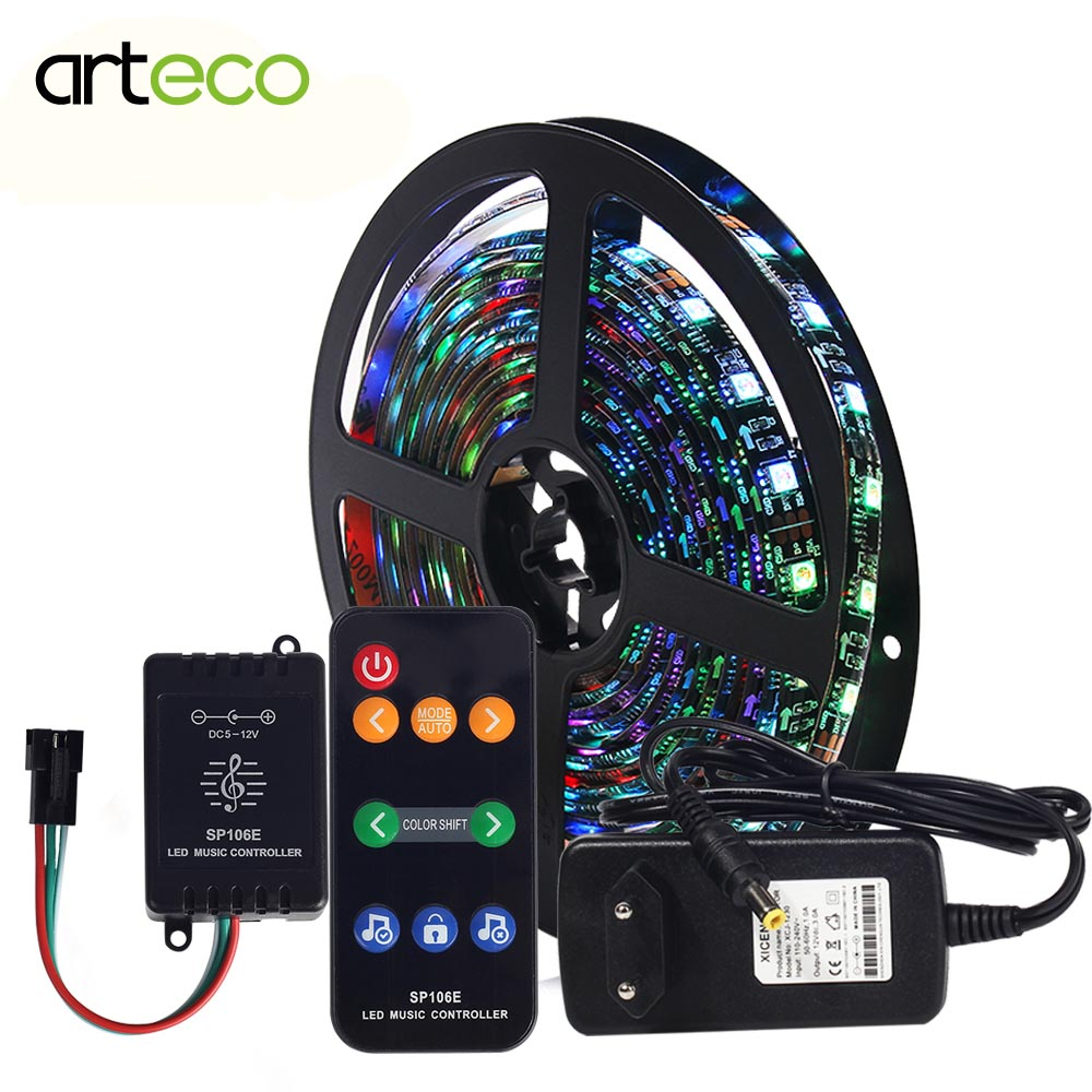 DC 12V Led Strip 2811 WS2811 Digital RGB Flexible Strip Light For TV Computer Set And Music Controller Power Adapter Magic Color