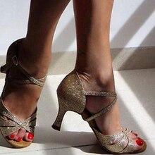 Пикантные блестящие золотые туфли для латинских танцев, сальсы, бальных танцев обувь для сальсы на высоком каблуке обувь для латинских бальных танцев DS321