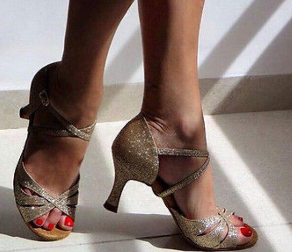 Sexy Sparkly Gold Glitter Λατινικά Salsa Ballroom Dance Παπούτσια Υψηλά τακούνια Salsa Dancing Παπούτσια Λατινικά παπούτσια χορού Dance DS321