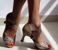 Sexy Sparkly Gold Glitter Latin Salsa Ballroom Dance Shoes High Heels Salsa Dancing Shoes Latin Ballroom Dance Shoes DS321