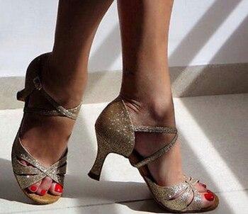 Zapatos De Baile De Salón Latino Con Brillo De Oro Brillante Sexys Zapatos De Baile Latino DS321