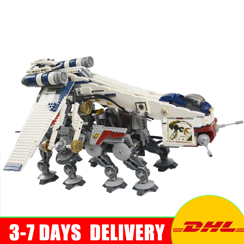 2017 DHL LEPIN 05053 UCS 1788pcs Republic Dropship with AT-OT Walker Model Building blocks Bricks Clone 10195 Toy Gift w 29 at at walker style wall sticker