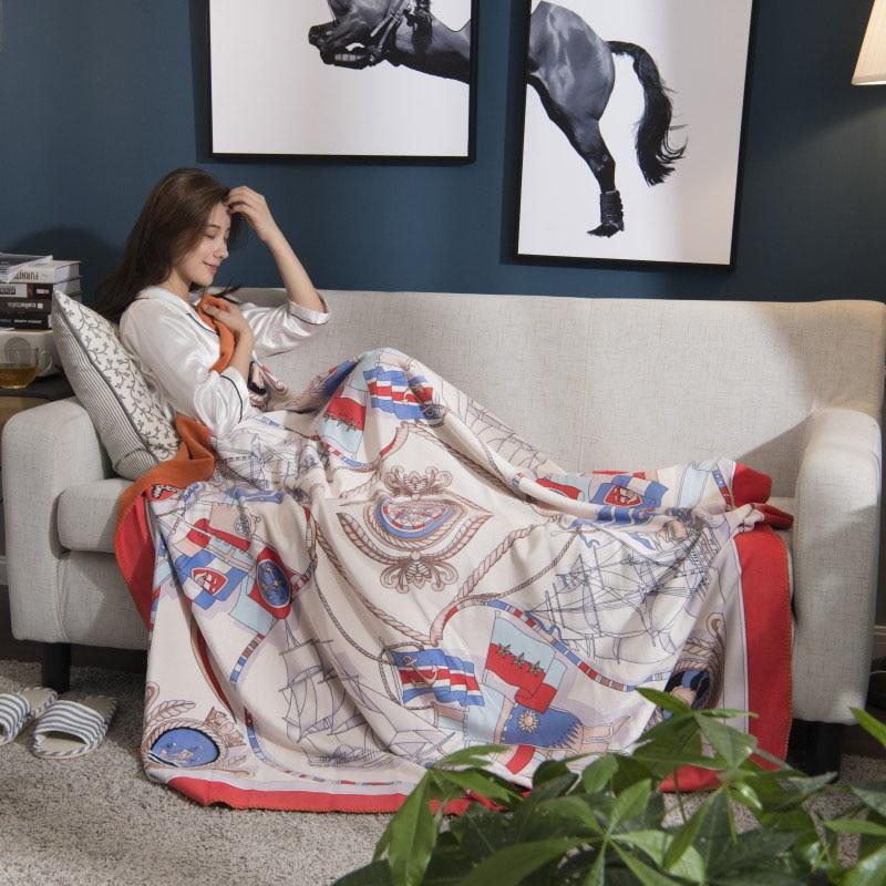 Moderna de lujo de doble capa de manta suave sofá cubierta hogar decorativo de punto a cuadros de viaje peso gravedad mantas manta gruesa-in Mantas from Hogar y Mascotas    1