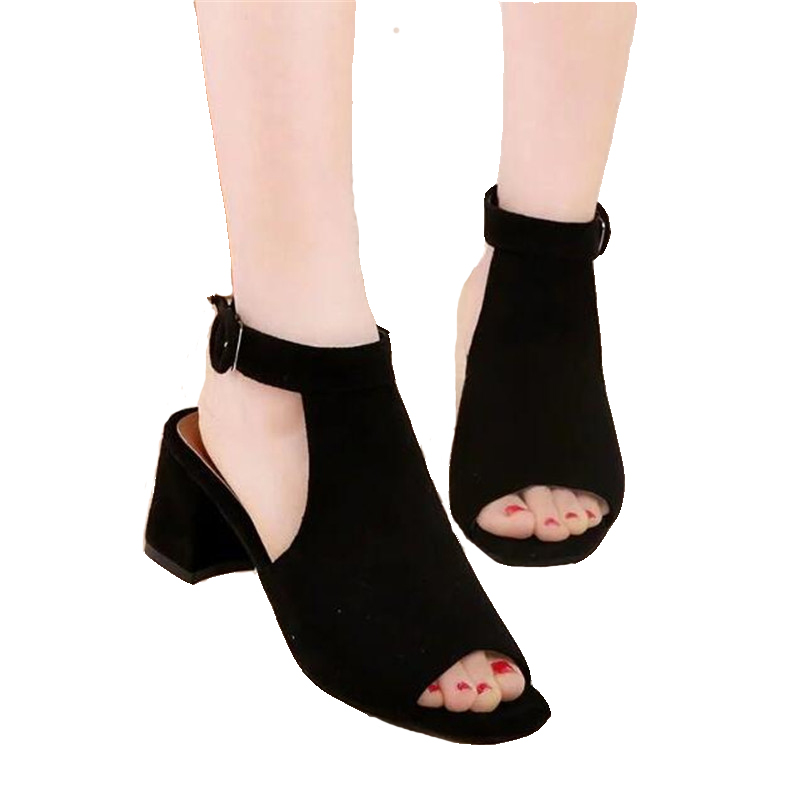 Scarpe donna di trasporto libero estate 2018 Flock marca OL sandali donna col tacco alto smerigliato con sandali sexy da donna bocca di pesce