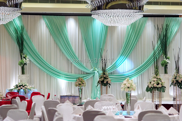 Attractive wholesale and retail 10x20 white and aqua wedding stage backdrop  US27