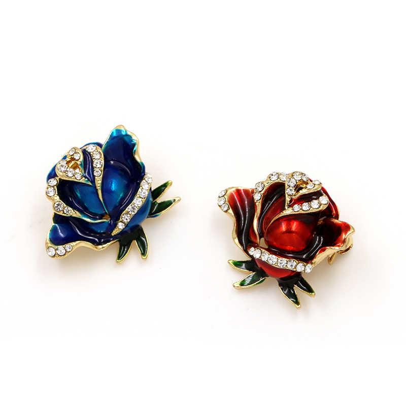 Weimanjingdian Baru Biru atau Merah Bunga Mawar Enamel Bros Pin untuk Wanita atau Kekasih