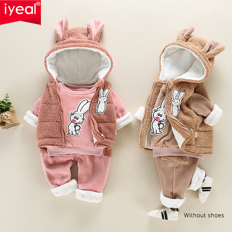 IYEAL Baby Boy Girl Clothes Sets 3pcs Cartoon Rabbit Autumn Winter Hooded Clothes For Toddler Girl Outfit Children's Clothing baby clothes sweater sets autumn girls clothing christmas suit toddler cothing boy clothes penguin clothing for newborns girl