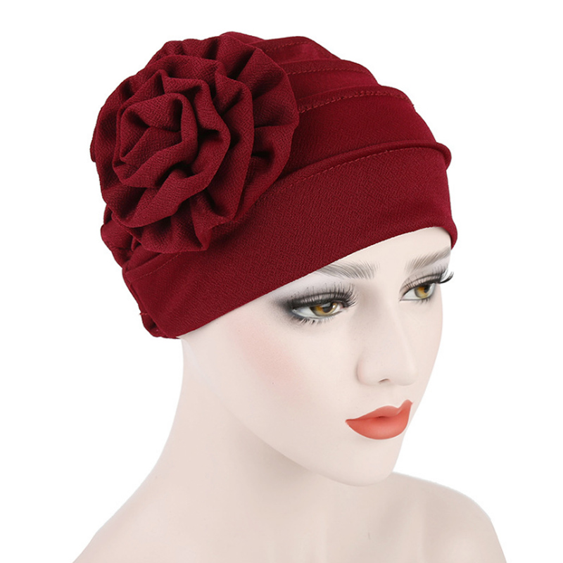 Fashion Cotton Solid color side of the applique flower scarf hat Muslim head hat cap women postpartum warm hat Turban Head Cap in Women 39 s Skullies amp Beanies from Apparel Accessories
