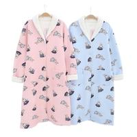 Cute rabbit thicken scuba Cotton nightgowns women Japanese yukata robes Winter Keep warm pyjamas pijama homedress for women