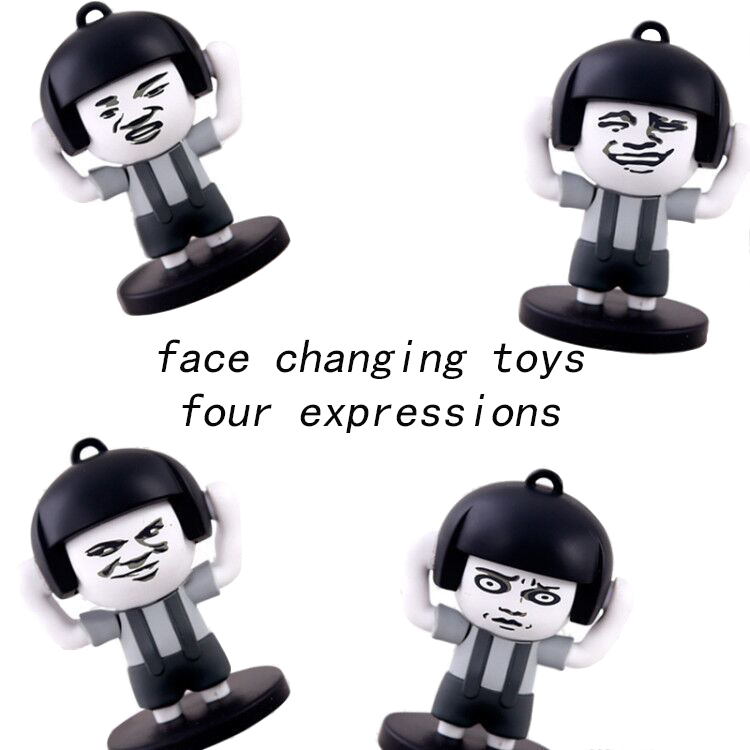 Super Funny Toy Mushroom Head Change Face 4 Face Expression Keychain Action Figure Toy
