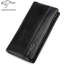 Kangaroo Kingdom Luxury Men Wallets Long Genuine Leather Clutch Wallet Business Famous Brand Purse Wallet