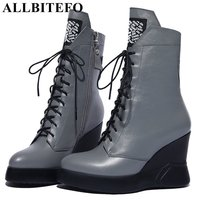 ALLBITEFO New Fashion Genuine Leather Wedges Heel Platform Women Boots High Heel Shoes Ankle Boots Winter