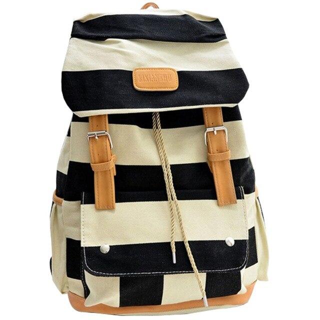 Girl's Canvas Super Cute Stripe School College Laptop Bag Backpack